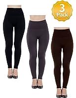 Women High Waist Leggings Fleece Lined-Seamless,Stretchy,Ankle Length 3 Pk