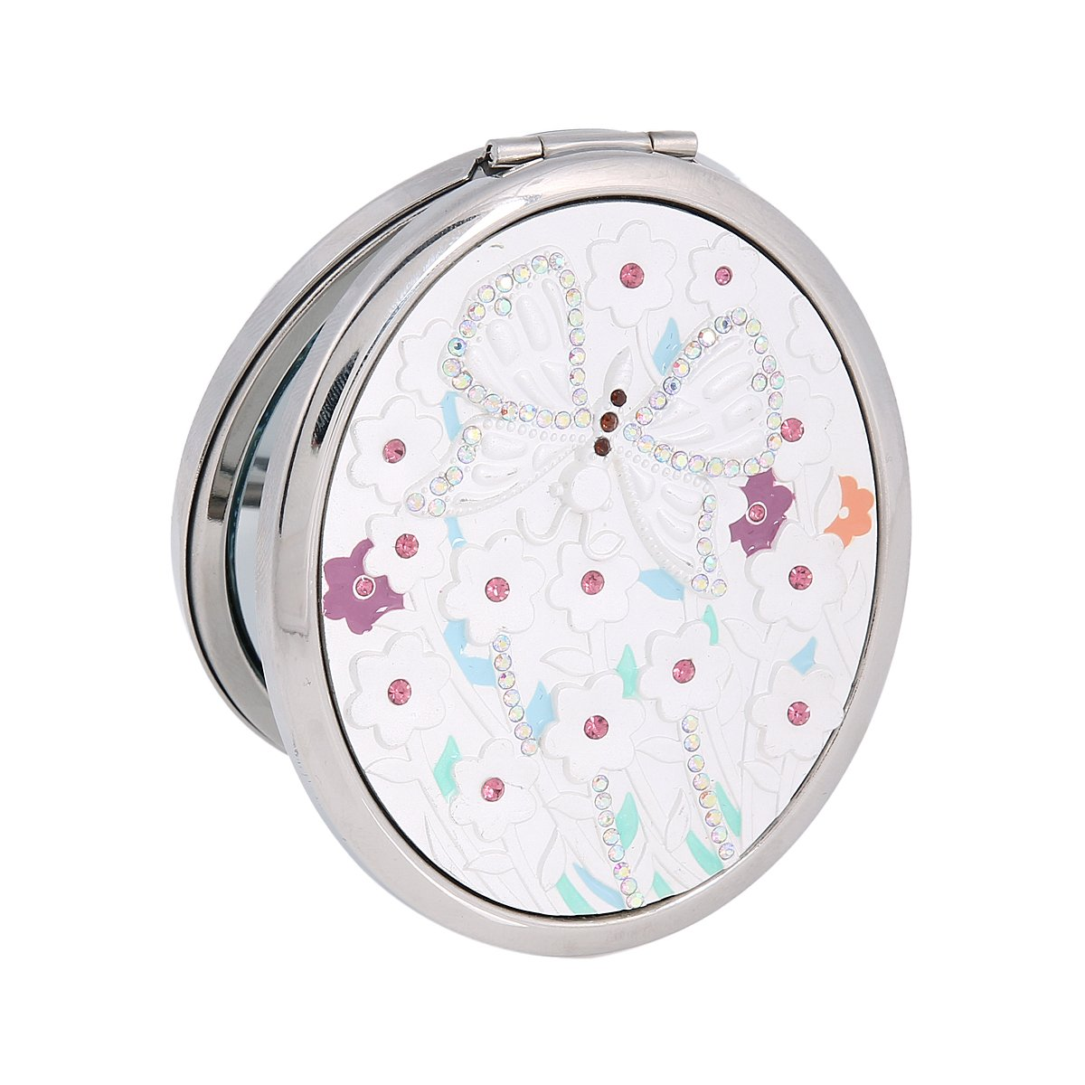 Damara Ladies&Girl's Oval Beauty Butterfly Cosmetic Mirror Clear Crystal