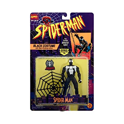 Spider-Man Black Costume with Bonus Collector Pin - Spider-Man The Animated Series Action Figure: Toys & Games