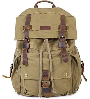 f963b5f67b Paraffin Outdoor Canvas Backpack Hiking Camping Rucksack Heavy Duty Daypack  School Backpack for Men and Women