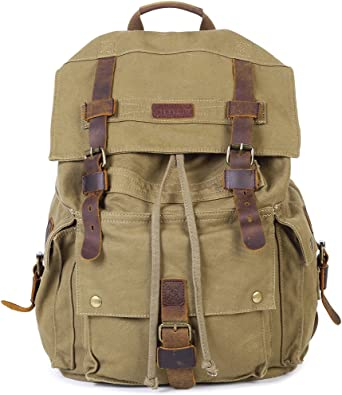 Black with Zipper USB Canvas Vintage Outdoor Backpack Travel Daypack Hiking Camping School Rucksack for Women Men