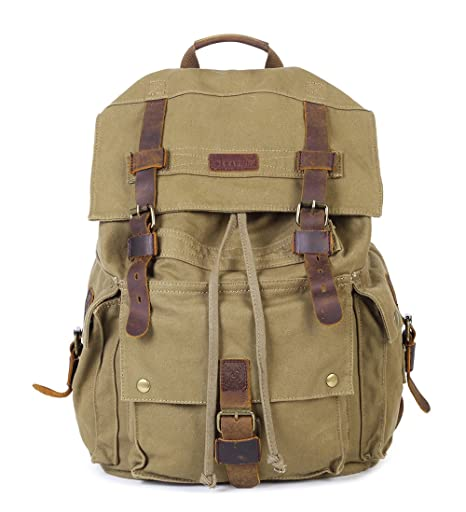 2189befd5d57 Amazon.com  Paraffin Outdoor Canvas Backpack Hiking Camping Rucksack Heavy  Duty Daypack School Backpack for Men and Women  Sports   Outdoors