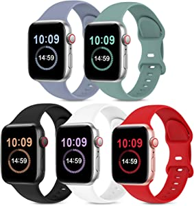 5 Pack Bands Compatible with Apple Watch Band 42mm 44mm, Soft Silicone Sport Replacement Strap Compatible with iWatch Series 6 5 4 3 2 1 SE Women Men Lavender Gray/Cactus/Black/White/Red 42mm/44mm M/L