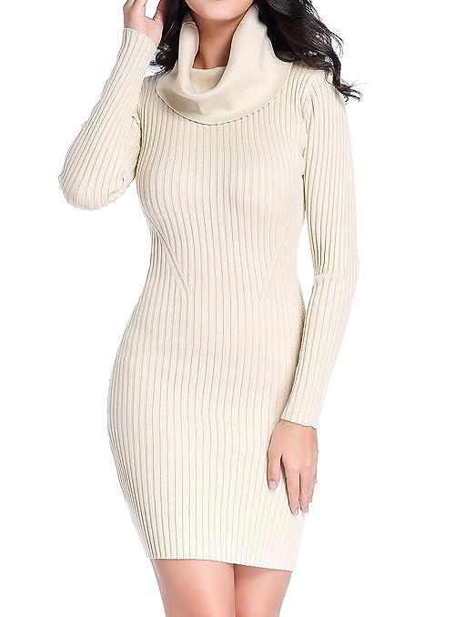 Image result for v28 Women Cowl Neck Knit Stretchable Elasticity Long Sleeve Slim Fit Sweater Dress