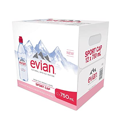 12bcb4eb9f Image Unavailable. Image not available for. Color: Evian Natural Spring  Water (750 mL ...