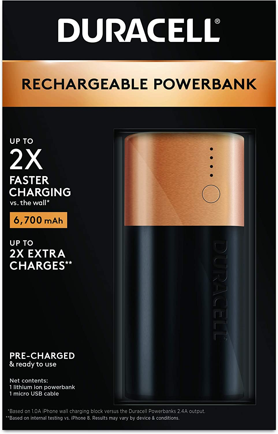 Duracell Rechargeable Powerbank 6700 mAh | 2 Day Portable Charger | Compatible With iPhone, iPad, Samsung, Android, Nintendo Switch & more | TSA Carry-On Compliant
