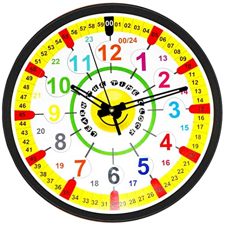 Easy to Read Time Teacher Children's Wall Clock | 12 and 24 Hour Wall Clock  with Silent Tick | Learn to Tell The Time in 2 Simple Steps | for Children  ...