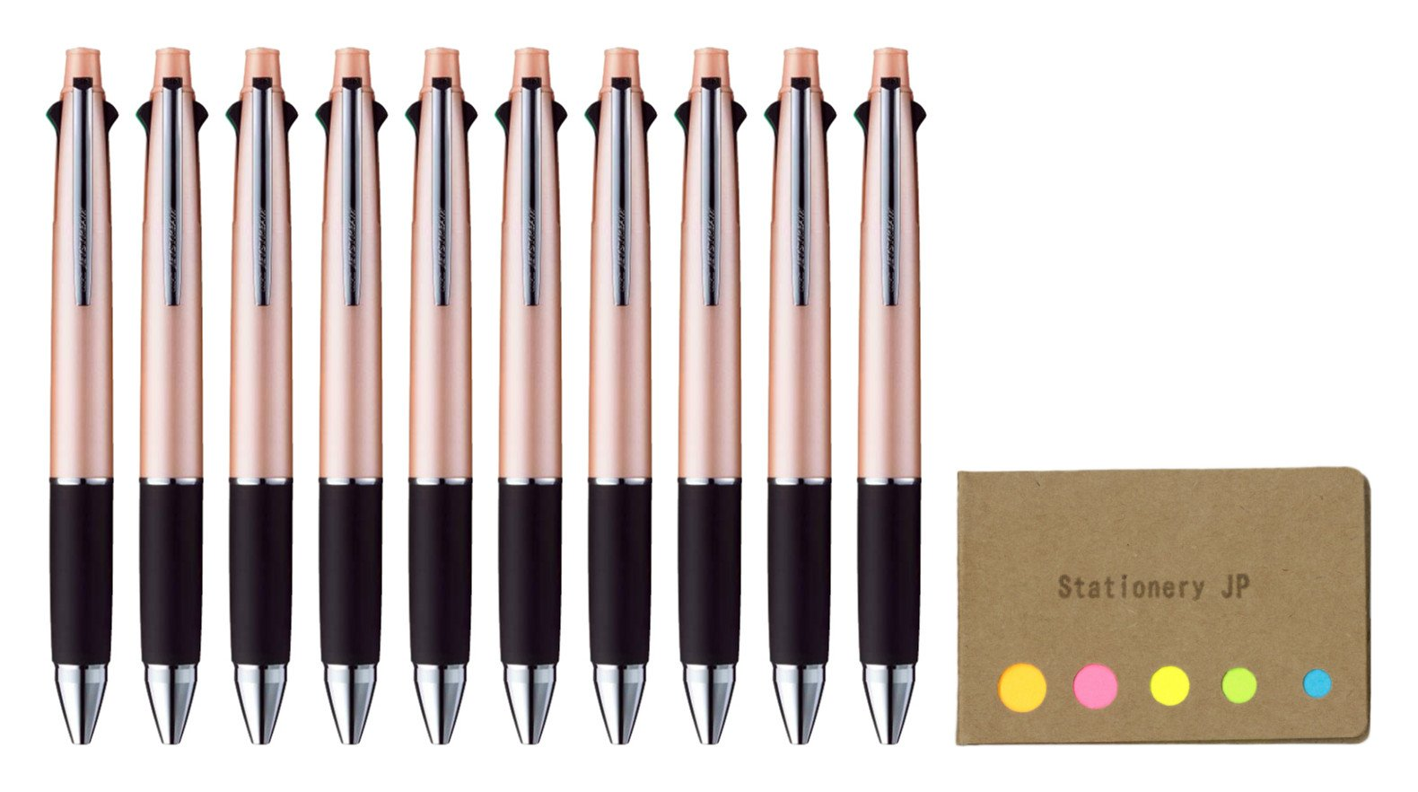 Uni-ball Jetstream 4&1 4 Color Extra Fine Point 0.38mm Ballpoint Multi Pen, Baby Pink Barrel, 10-pack, Sticky Notes Value Set
