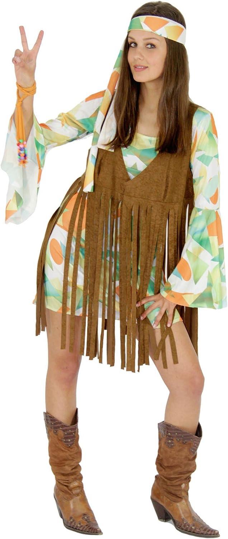 FOXXEO 70s Vestido con Flecos Chaleco Hippie Disfraz para la Fiesta de Carnaval de Las señOras de los años 60 L