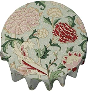 Tablecloth Round 54 Inch Table Cover William Morris Cray Floral Pre-Raphaelite Vintage Table Cloth Decor for Buffet Table, Parties, Holiday Dinner, Wedding & More