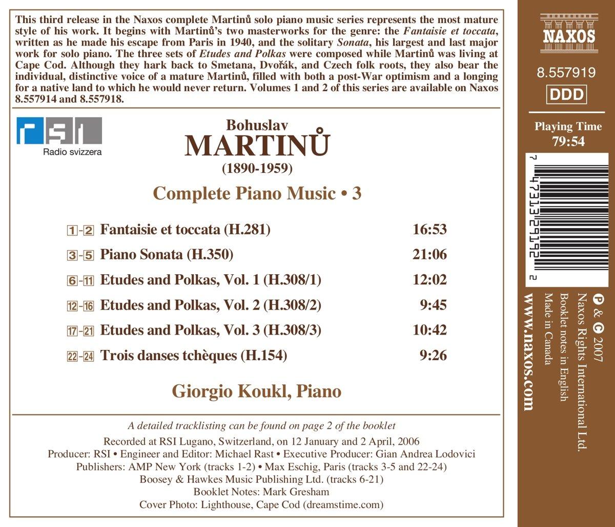 Complete Piano Music 3: Piano Sonata, Fantaisie et toccata, Etudes and Polkas