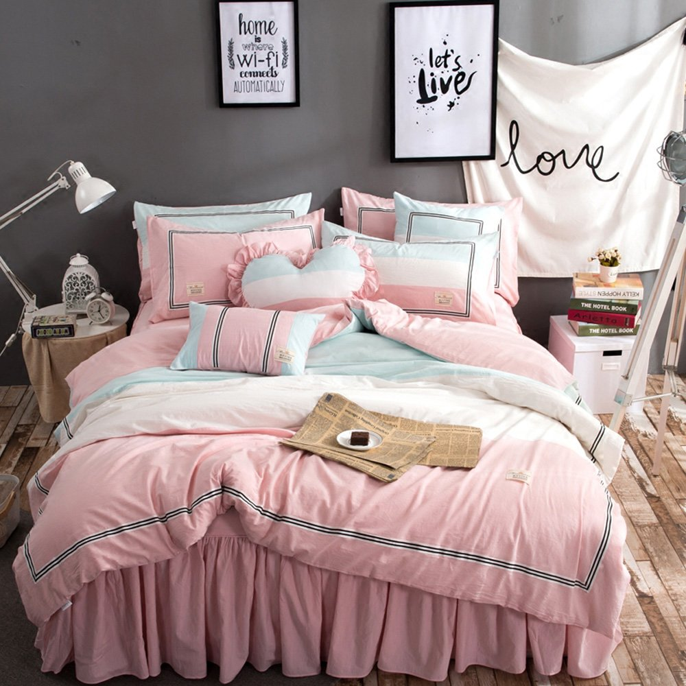 TideTex 4PC Simple Student Teens Girl Cotton Bedding Set Pink Blue College Dorm Soft Cozy Duvet Cover Sets Washable 4-piece Nordic Bedding Bed Skirt (Full, A) by TideTex (Image #2)