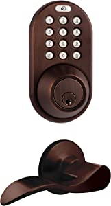 MiLocks TFL-02OB Digital Deadbolt Door Lock and Passage Lever Handle Combo with Keyless Entry via Keypad Code for Exterior Doors, Oil Rubbed Bronze