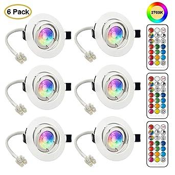 6x Foco Empotrable LED GU10 Luz de Techo 3W Incluye Bombilla GU10 Blanco Natural 2700K Colores RGBW Bombillas con mando Ojos de Buey Marco Redondo ...