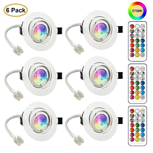 6x Foco Empotrable LED GU10 Luz de Techo 3W Incluye Bombilla GU10 Blanco Natural 2700K Colores