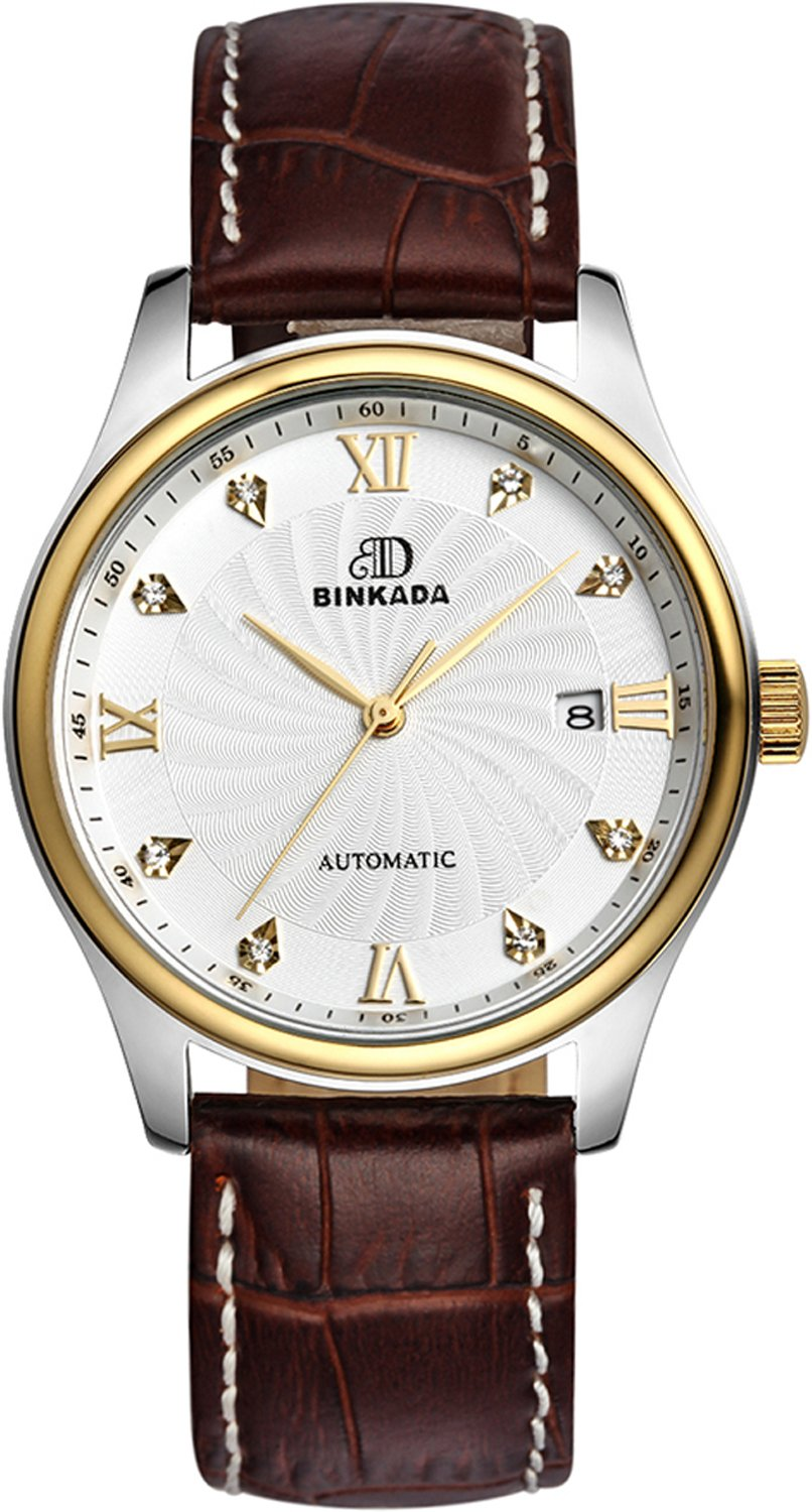 BINKADAメンズ自動機械ビジネスカジュアル防水Watch for Mens Watches Brown Band-Gold Case-White Dial B011VFMWLC Brown Band-Gold Case-White Dial Brown Band-Gold Case-White Dial