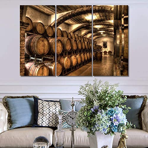 Giclee Canvas Print Many Red Wine Barrel In Alcohol Cellar Picture Wall Art Kitchen Accessories Wall Decoration