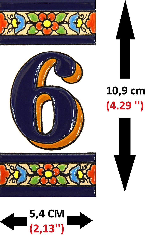 Pintados a Mano t/écnica Cuerda Seca ART ESCUDELLERS N/úmeros casa Numeros y Letras en azulejo Ceramica policromada Numero Dos 2 Dise/ño Flores Mediano 10,9 cm x 5,4 cm. Nombres y direcciones