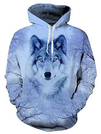 uideazone Mens Cool Wolf Warm Hoodie PersöNlichkeit Grafik Outwear Sport  Sweatshirts