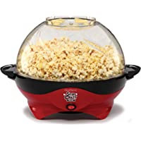West Bend 8231 Stir Crazy 6 quart Deluxe Electric Hot Oil Popcorn Popper Machine with Removable Heating Plate (Red)