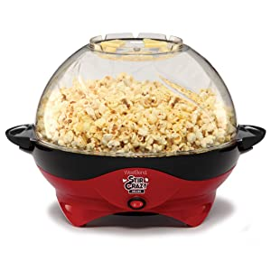 West Bend 8231 Stir Crazy Deluxe Electric Hot Oil Popcorn Popper Machine with Removable Heating Plate for Easy Cleaning Offers Large Lid for Serving Bowl & Convenient Storage Red