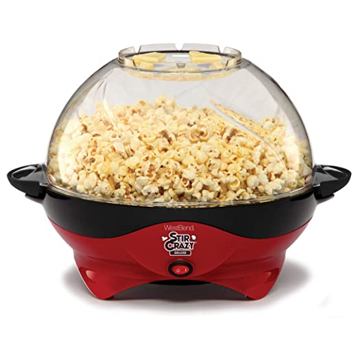 West Bend 8231 Stir Crazy Deluxe Electric Hot Oil Popcorn Popper Machine with Removable Heating Plate for Easy Cleaning Offers Large Lid for Serving Bowl & Convenient Storage, 6 quart, Red