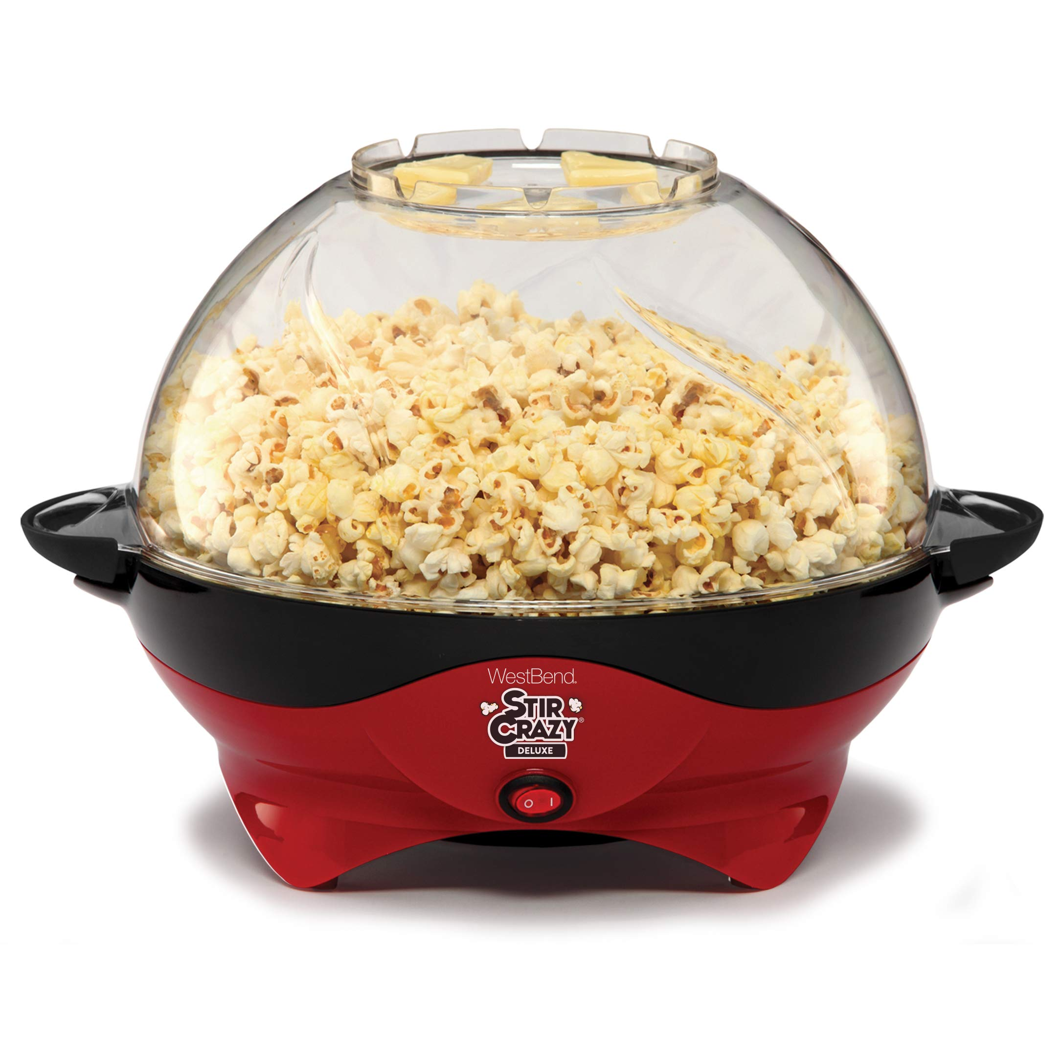 West Bend 8231 Stir Crazy Deluxe Electric Hot Oil Popcorn Popper Machine with Removable Heating Plate for Easy Cleaning Offers Large Lid for Serving Bowl and Convenient Storage, 6-Quarts, Red