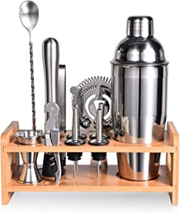 Esmula Bartender Kit with Stylish Bamboo Stand, 12 Piece Cocktail Shaker Set for Mixed Drink, Professional Stainless Steel Bar Tool Set - Cocktail Recipes Booklet(25 oz)
