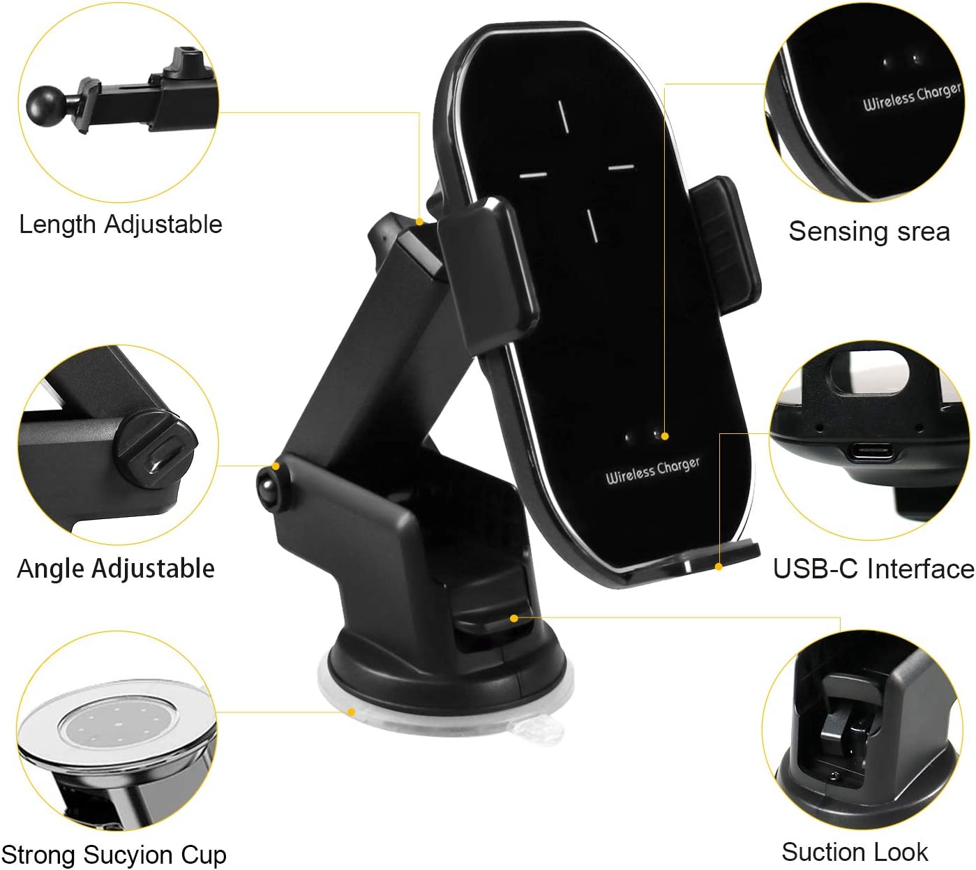 Wireless Car Charger,10W Qi Fast Charging Auto-Clamping Car Mount Car Phone Holder for iPhone 11//11pro//XS Max//XR//X//8//8Plus Samsung S10//S9//S8//Note 8 etc(Gold)