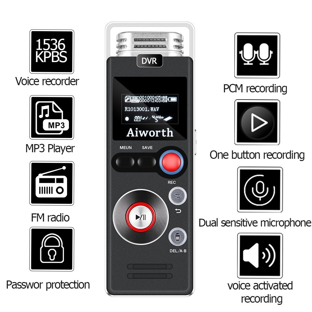 Digital Voice Recorder for Lectures - Aiworth 580 Hours Sound Audio Recorder Dictaphone Voice Activated Recorder Recording Device with Playback,MP3 Player,Password,Variable Speed,FM Radio (Silver)