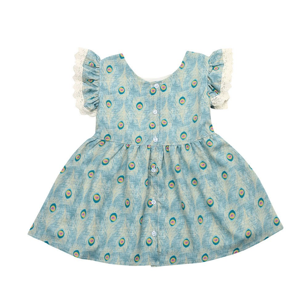 Summer Toddler Kid Baby Girl Lace Ruffles Sleeve Dress Peacock Feathers Print Party Dresses (Blue, Size:24M)