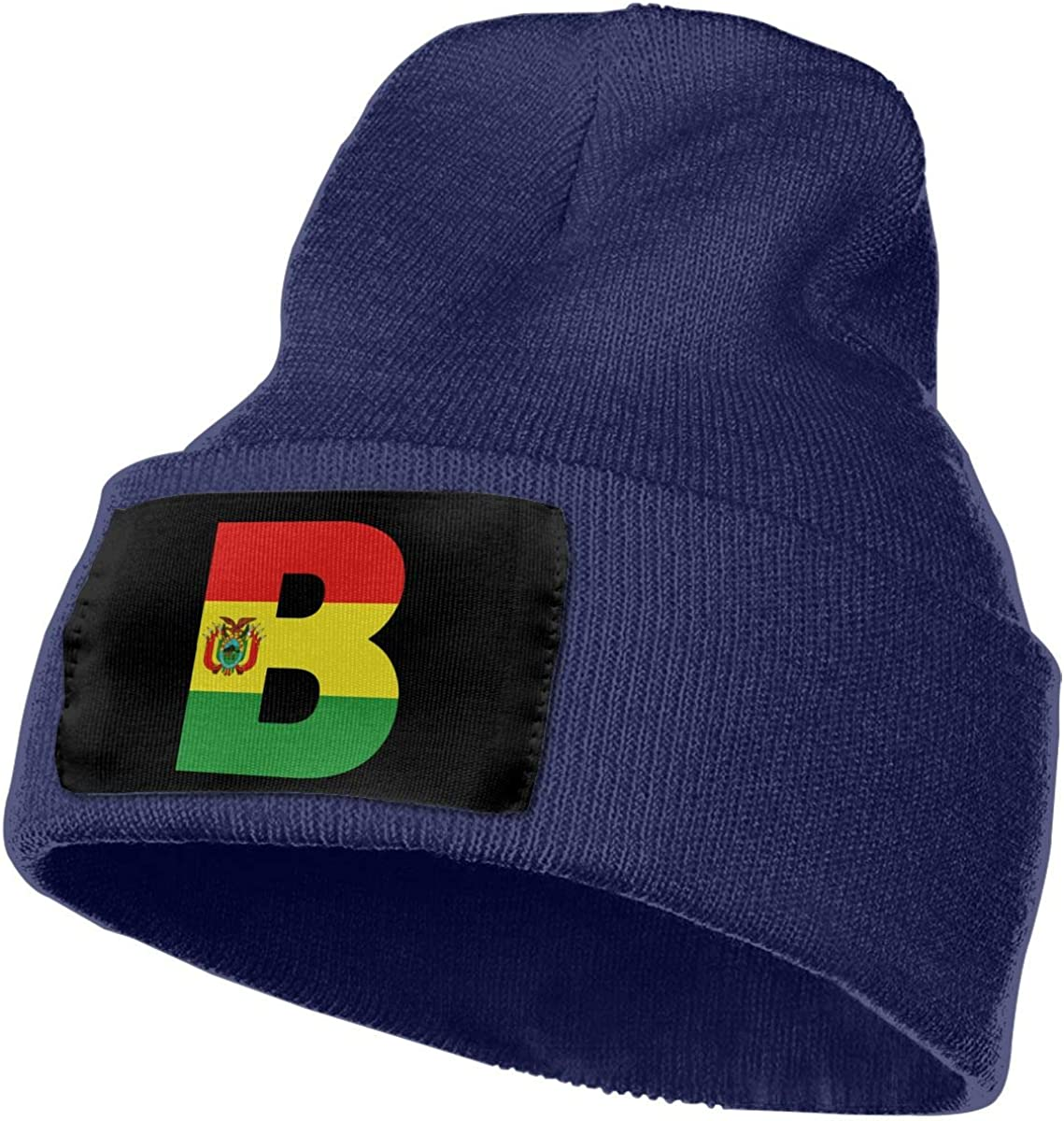 Bolivia Flag B Letter Unisex Fashion Knitted Hat Luxury Hip-Hop Cap