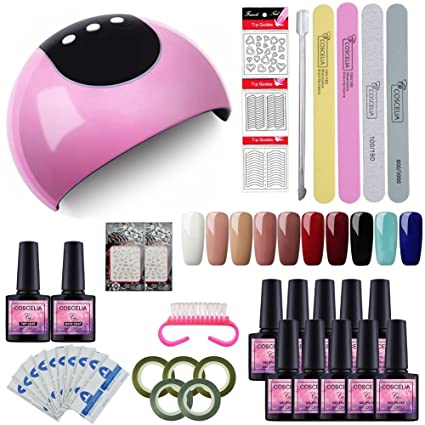 Saint-Acior 24W UV/LED Lámpara Secador de Uñas Kit Uñas de Gel 10PC. Pasa ...