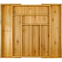 Plateau à couverts en bambou Harcas. Porte-ustensile à 6-8 compartiments pour le tiroir. Grand organisateur de taille extensible. S'étend jusqu'à 50cm x 43cm x 5cm