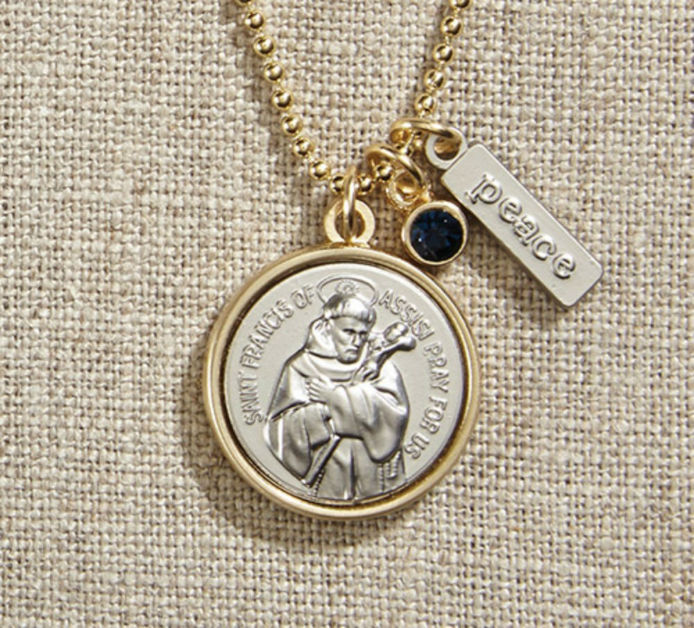 Set of 3 Vintage Blessings St. Francis Necklace with Gold Chain