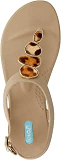 product image for Nova Flip Flop Sandal Shoes with Ankle Strap by OkaB Color Chai with Leopard Buttons