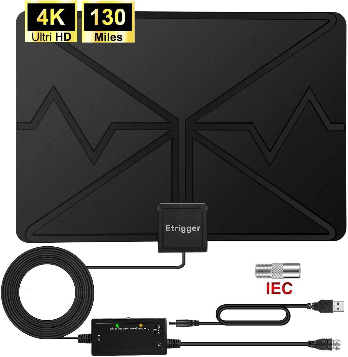 Antena de TV, 2020 para interior digital HDTV con amplificador ajustable y amplificador de señal puede recibir un rango de señal de más de 130 millas para ver canales de 4K gratis,
