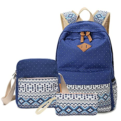 f4dfa7574a57 Leaper Cute Polka Dot Style Canvas Laptop Bag  Casual backpacks+Shoulder Bag School  Backpack+Pencil Case(3PCS)Dark Blue  Amazon.ca  Luggage   Bags