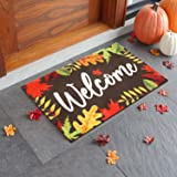 Fall Leaves Welcome Doormat Autumn Home Front Porch Rugs Indoor Outdoor Thanksgiving Carpet Gift Fall Entrance Supplies 17 x
