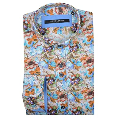 7796af01e305 Guide London Cotton Sateen Butterfly Print Mens Shirt Blue 2XLarge ...