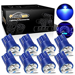 Partsam T10 194 LED Light Bulb 168 LED Bulbs Instrument Panel Gauge Cluster Dashboard LED Light Bulbs No-Polarity 2825 Dome Map Lights – 8Pack Blue