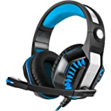 WONER GM-2 Gaming Headset, Cool Comfortable Computer Headphones Specialized for Games, Over Ear Stereo Headphones with Mic Noise Isolating, Volume Control, LED Light (Blue)
