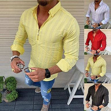 YGbuy-Camisa De Manga Larga con Cremallera a Rayas para Hombre Adecuado para Primavera y Otoño Camisas Mujer Tallas Grandes: Amazon.es: Ropa y accesorios
