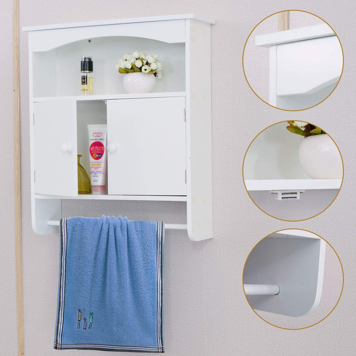 Sandinrayli Wall Mounted Bathroom Storage Cabinet Towel Shelf Toilet Medicine Organizer White Buy Online In India At Desertcart In Productid 64166492