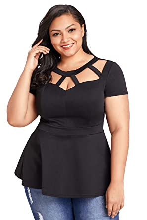 8fd18961 KaleaBoutique Women's Black Plus Size Short Sleeve Cutout Flare Peplum  Blouse Dress Shirt Tee Top,