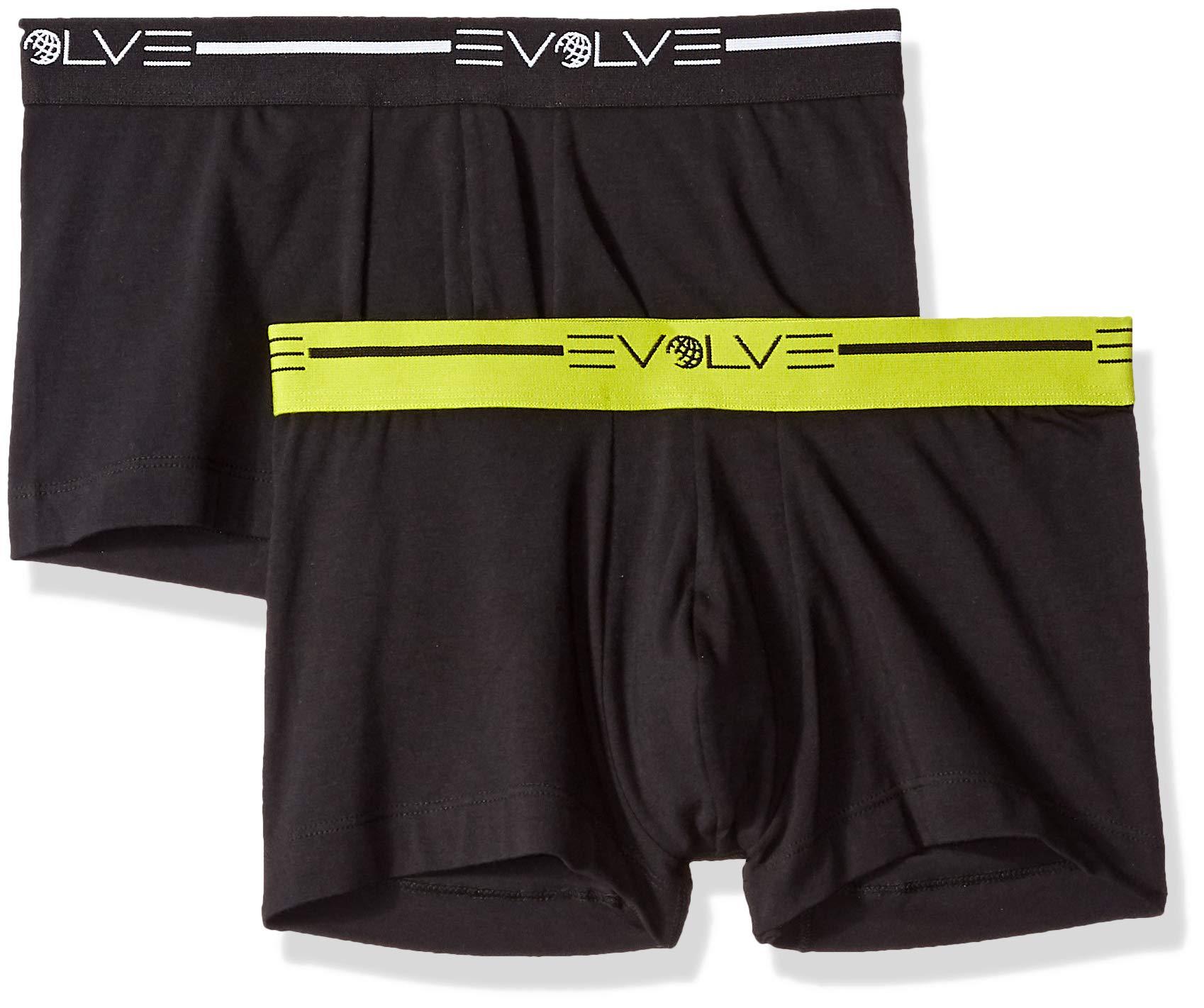 EVOLVE Men's Cotton Stretch No Show Trunk Underwear Multipack, Black, Medium by EVOLVE