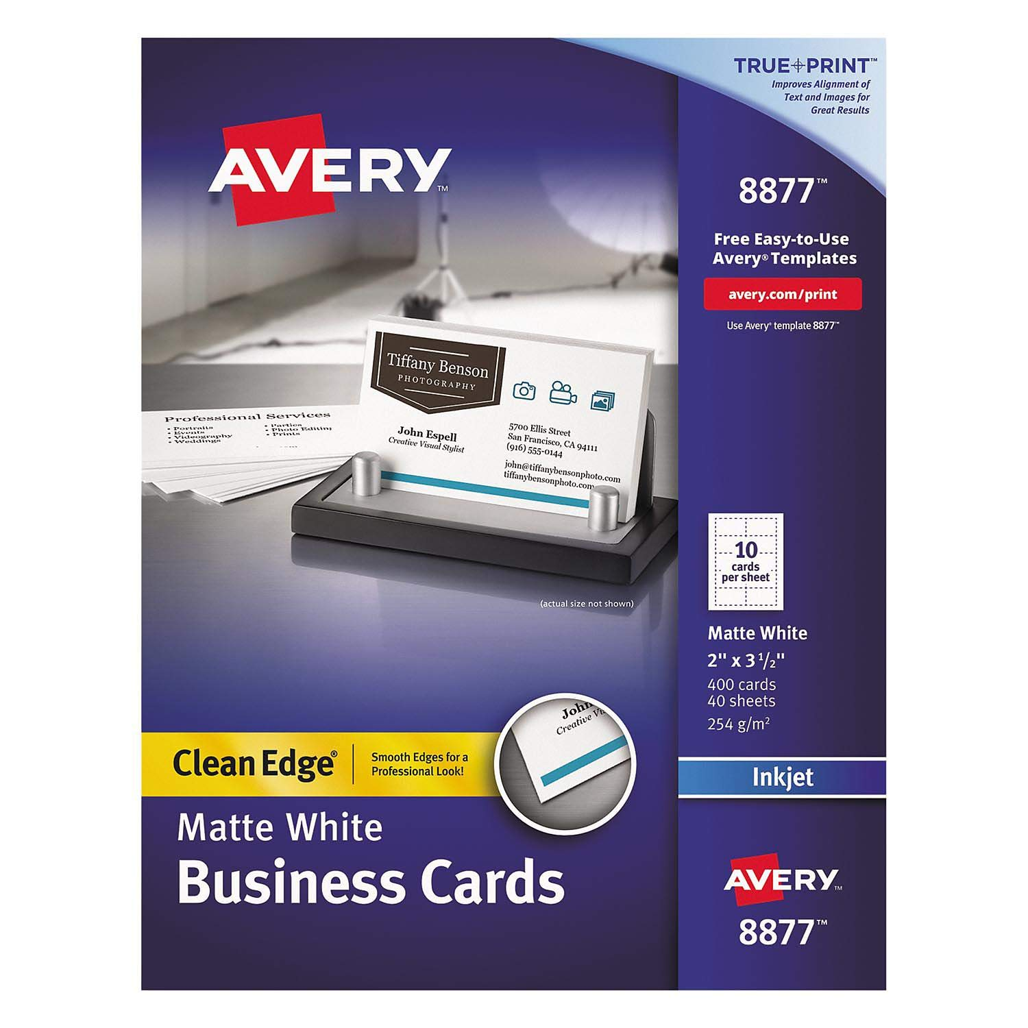 Avery Two-Side Printable Clean Edge Business Cards, Inkjet, 2 x 3 1/2, White, 400/Box by Avery (Image #1)