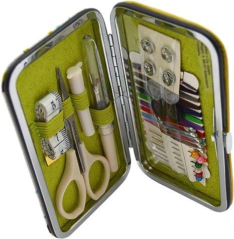 Kleiber - Kit de Costura para Viajes en Estuche Duro, tamaño Bolsillo, Incluye Tijera/Hilo/Botones/descosedor/Cinta métrica y automáticos, Color Azul/Verde: Amazon.es: Hogar