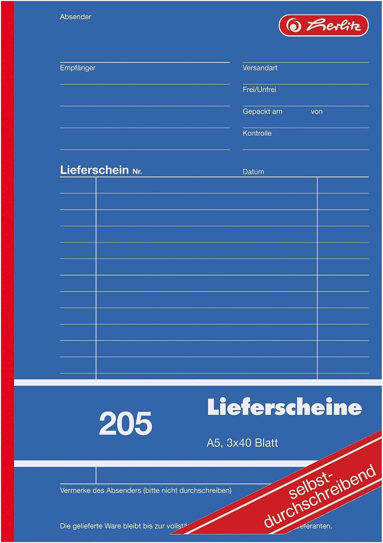 Herlitz 883546 Lieferschein Buch A5 205 3x40 Blatt Selbstdurchschreibend Bürobedarf Schreibwaren