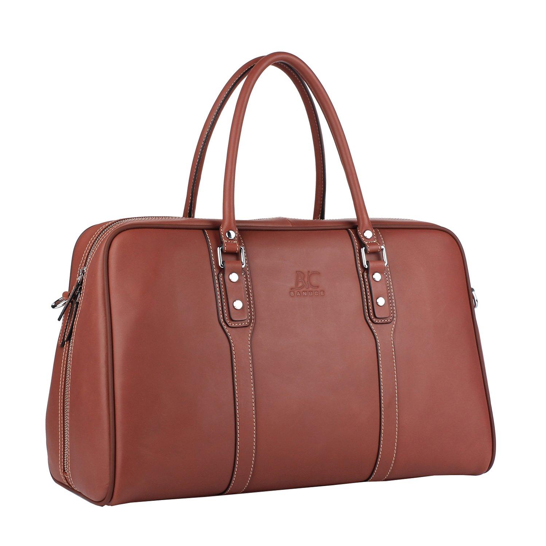 Banuce Vintage Leather Travel Tote Bag for Men Shoulder Messenger Purse 1-3 days Duffel Organizer Wine Red